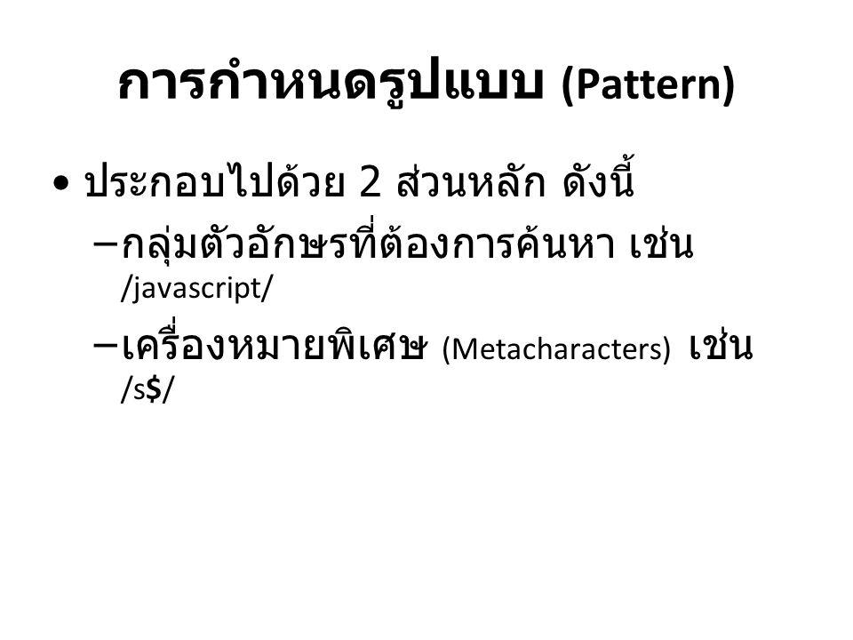 การกำหนดรูปแบบ (Pattern) ประกอบไปด้วย 2 ส่วนหลัก ดังนี้ – กลุ่มตัวอักษรที่ต้องการค้นหา เช่น /javascript/ – เครื่องหมายพิเศษ (Metacharacters) เช่น /s$/