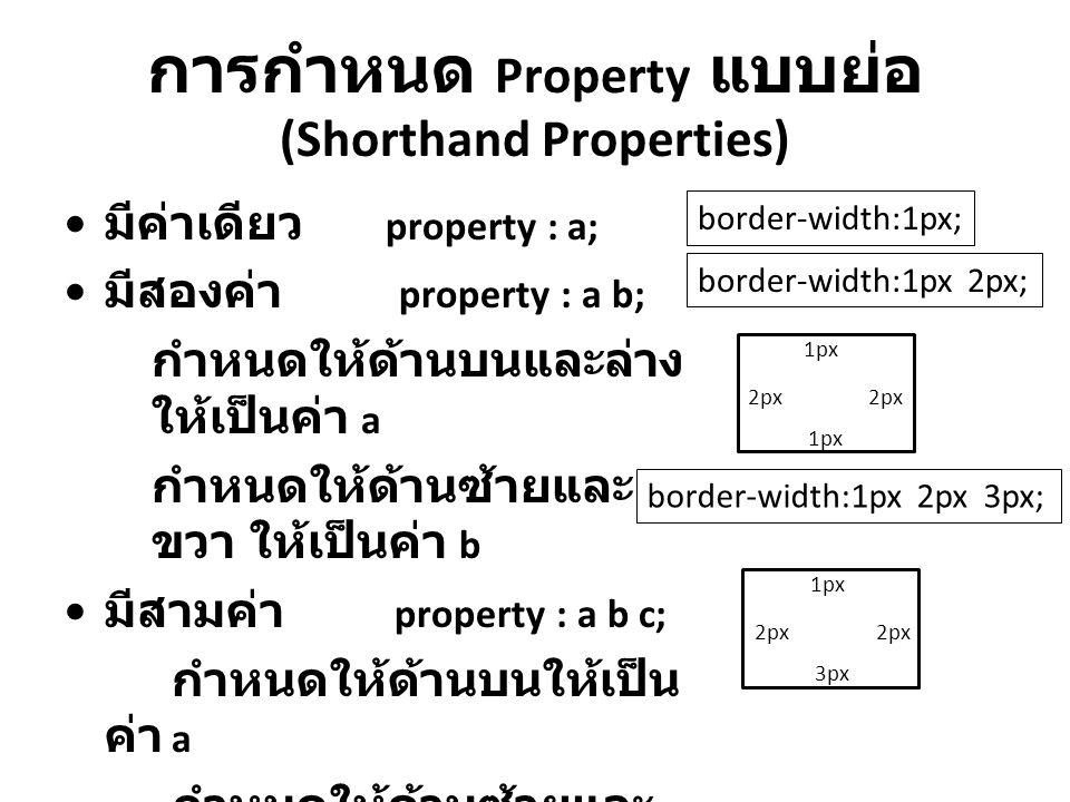 การกำหนด Property แบบย่อ (Shorthand Properties) มีค่าเดียว property : a; มีสองค่า property : a b; กำหนดให้ด้านบนและล่าง ให้เป็นค่า a กำหนดให้ด้านซ้ายแ