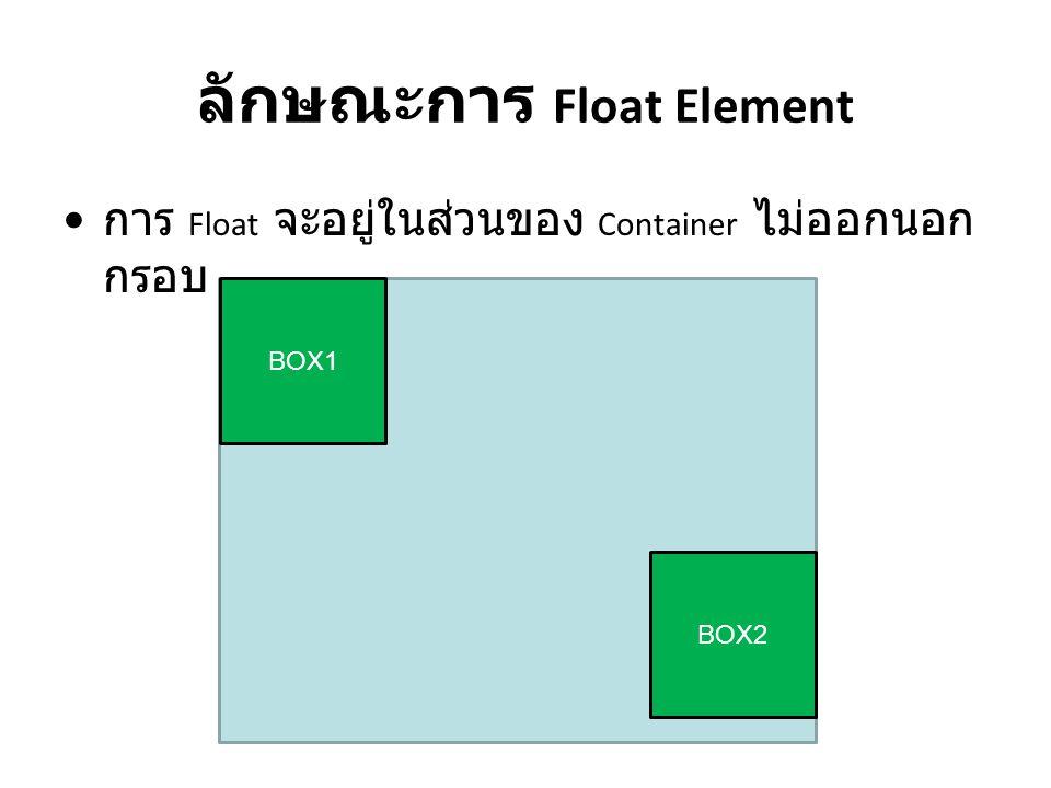 ลักษณะการ Float Element การ Float จะอยู่ในส่วนของ Container ไม่ออกนอก กรอบ BOX1 BOX2