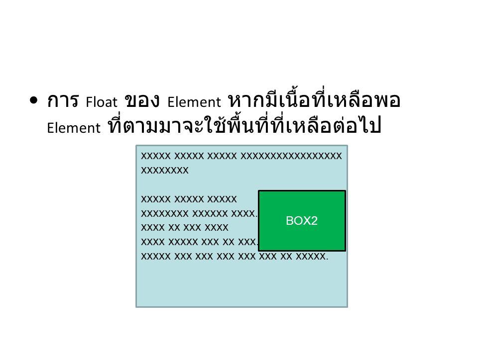 การ Float ของ Element หากมีเนื้อที่เหลือพอ Element ที่ตามมาจะใช้พื้นที่ที่เหลือต่อไป xxxxx xxxxx xxxxx xxxxxxxxxxxxxxxxx xxxxxxxx xxxxx xxxxx xxxxx xx