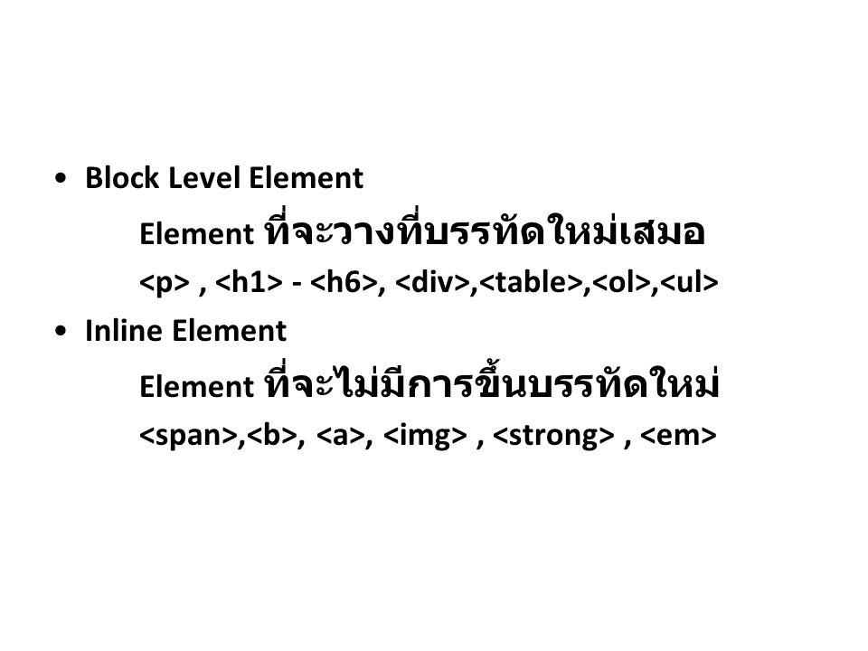Block Level Element Element ที่จะวางที่บรรทัดใหม่เสมอ, -,,,, Inline Element Element ที่จะไม่มีการขึ้นบรรทัดใหม่,,,,,
