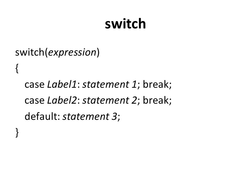 switch switch(expression) { case Label1: statement 1; break; case Label2: statement 2; break; default: statement 3; }
