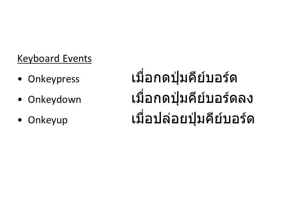 Keyboard Events Onkeypress เมื่อกดปุ่มคีย์บอร์ด Onkeydown เมื่อกดปุ่มคีย์บอร์ดลง Onkeyup เมื่อปล่อยปุ่มคีย์บอร์ด