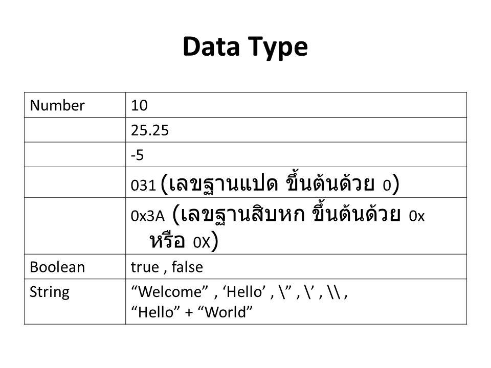 "Number10 25.25 -5 031 ( เลขฐานแปด ขึ้นต้นด้วย 0 ) 0x3A ( เลขฐานสิบหก ขึ้นต้นด้วย 0x หรือ 0X ) Booleantrue, false String""Welcome"", 'Hello', \"", \', \\,"