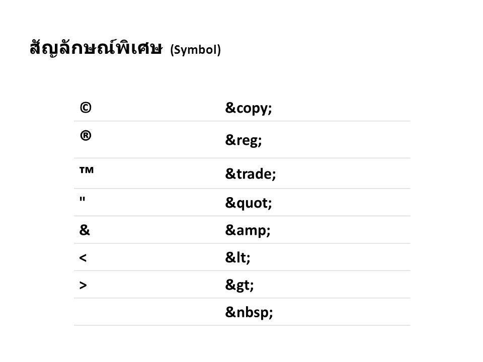 สัญลักษณ์พิเศษ (Symbol) ©© ® ® ™ ™ && << >>