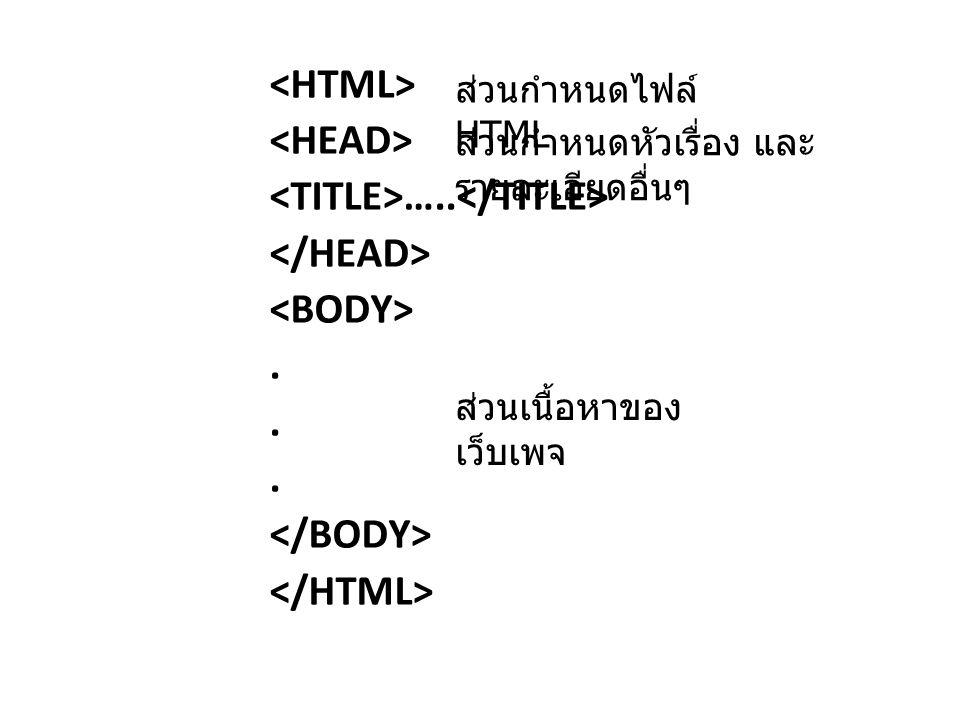 …..... ส่วนกำหนดไฟล์ HTML ส่วนกำหนดหัวเรื่อง และ รายละเอียดอื่นๆ ส่วนเนื้อหาของ เว็บเพจ