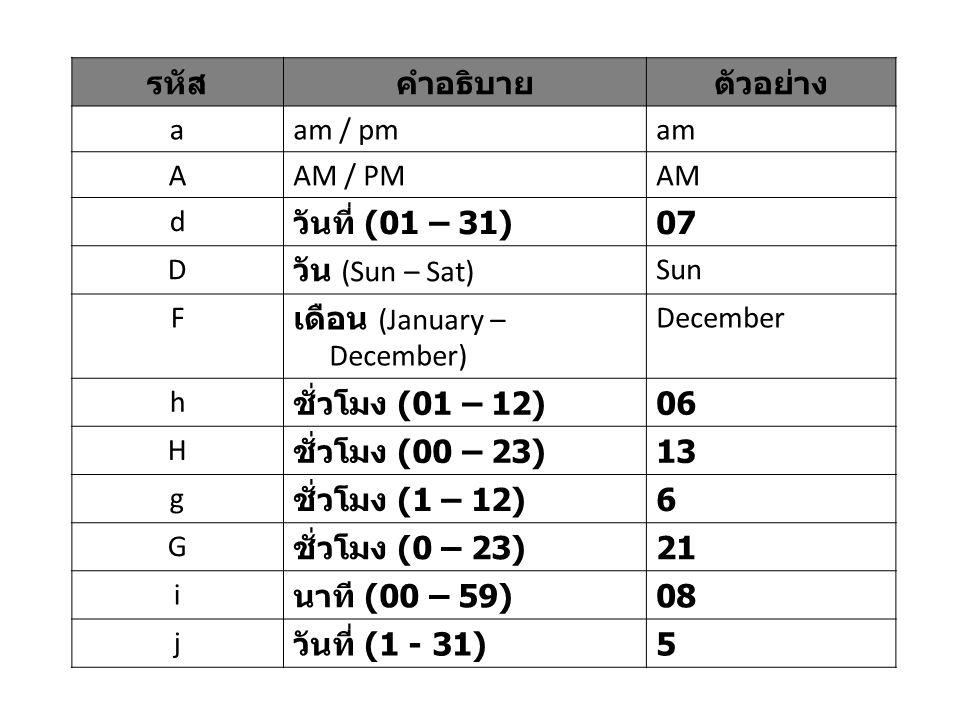 รหัสคำอธิบายตัวอย่าง aam / pmam AAM / PMAM d วันที่ (01 – 31) 07 D วัน (Sun – Sat) Sun F เดือน (January – December) December h ชั่วโมง (01 – 12) 06 H