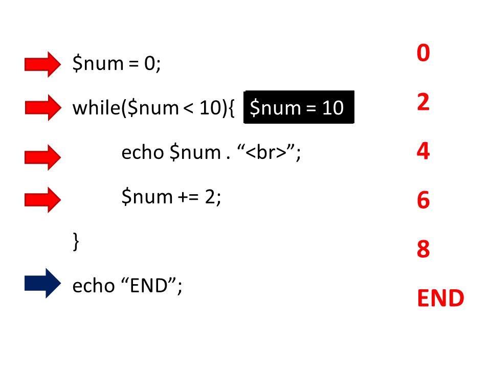 """$num = 0; while($num < 10){ echo $num. """" """"; $num += 2; } echo """"END""""; 0 2 4 6 8 END $num = 2$num = 4$num = 6 $num = 8 $num = 10"""