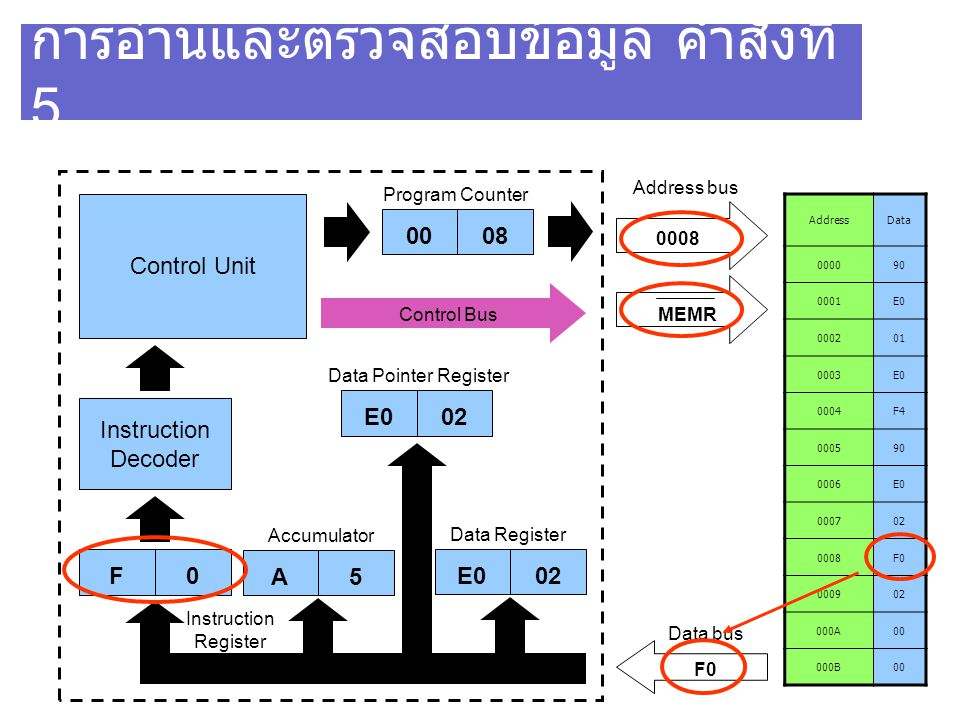90 การอ่านและตรวจสอบข้อมูล คำสั่งที่ 5 AddressData 000090 0001E0 000201 0003E0 0004F4 000590 0006E0 000702 0008F0 000902 000A00 000B00 Control Unit Instruction Decoder F0 0008 MEMR Program Counter Address bus 0008 Data bus F0 Instruction Register E002 Data Register Control Bus E002 Data Pointer Register A5 Accumulator