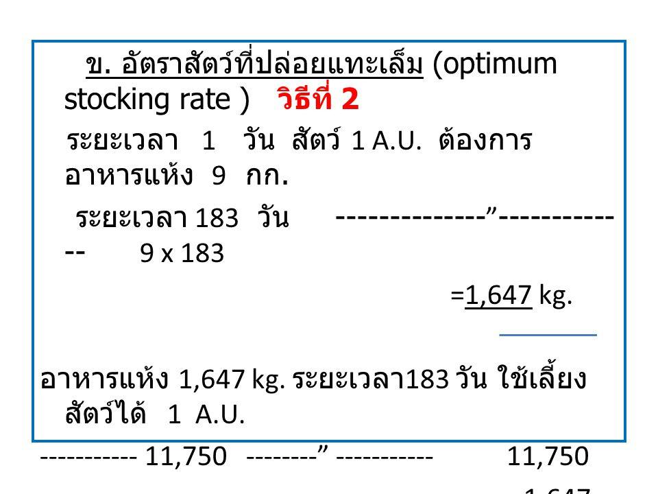 """ข. อัตราสัตว์ที่ปล่อยแทะเล็ม (optimum stocking rate ) วิธีที่ 2 ระยะเวลา 1 วัน สัตว์ 1 A.U. ต้องการ อาหารแห้ง 9 กก. ระยะเวลา 183 วัน --------------""""--"""