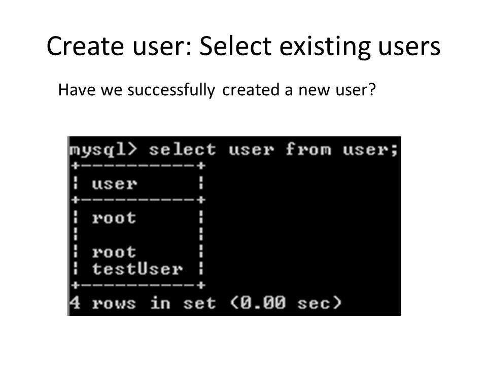 Create user: User with privilege