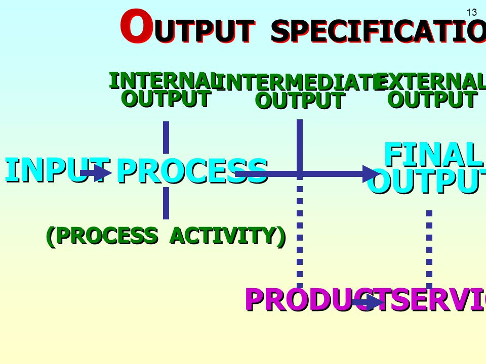 13 INPUT PROCESS INTERMEDIATE OUTPUT INTERMEDIATE OUTPUT (PROCESS ACTIVITY) FINAL OUTPUT FINAL OUTPUT PRODUCT SERVICE O UTPUT SPECIFICATION INTERNAL O