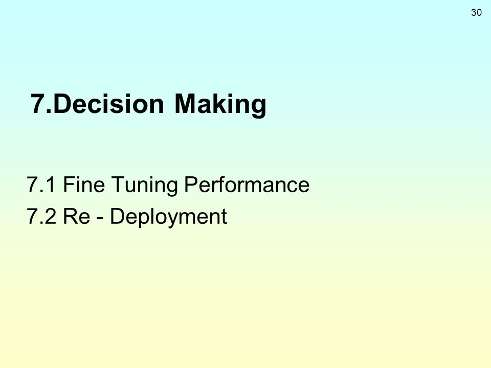 30 7.Decision Making 7.1 Fine Tuning Performance 7.2 Re - Deployment