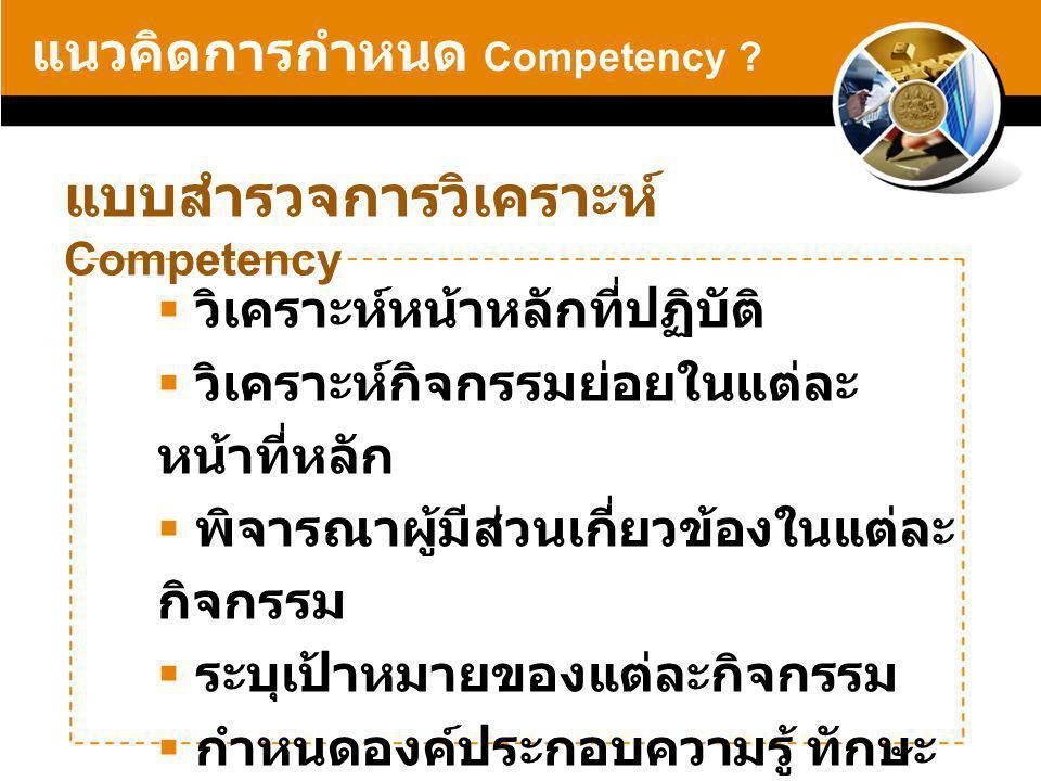 แบบสำรวจการวิเคราะห์ Competency แนวคิดการกำหนด Competency .