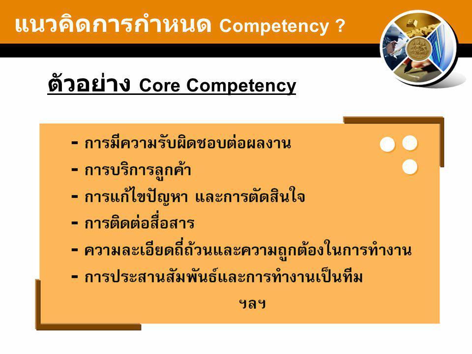 ตัวอย่าง Core Competency แนวคิดการกำหนด Competency ?