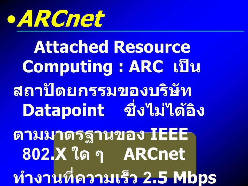 ARCnet Attached Resource Computing : ARC เป็น สถาปัตยกรรมของบริษัท Datapoint ซึ่งไม่ได้อิง ตามมาตรฐานของ IEEE 802.X ใด ๆ ARCnet ทำงานที่ความเร็ว 2.5 M