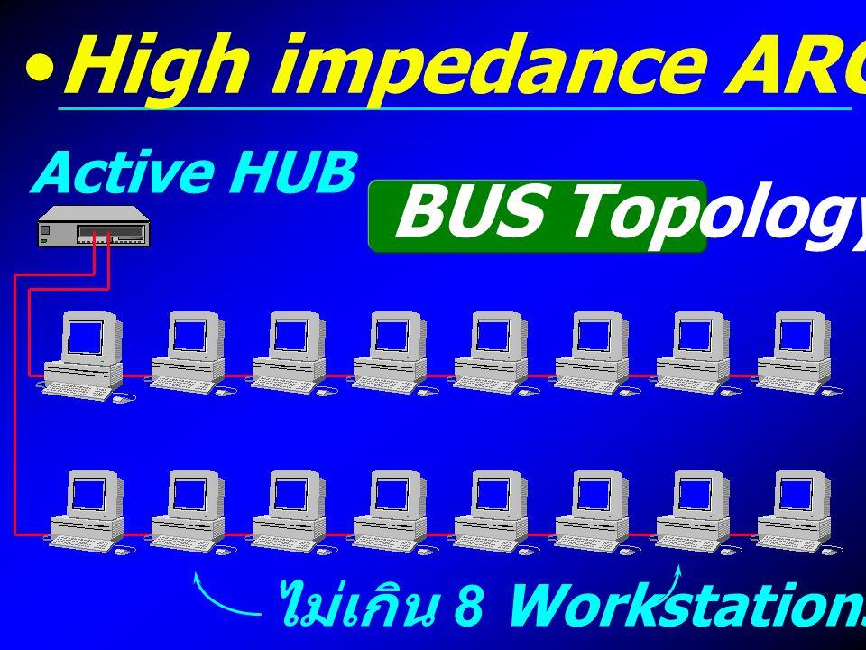 ไม่เกิน 8 Workstations Active HUB High impedance ARCnet BUS Topology