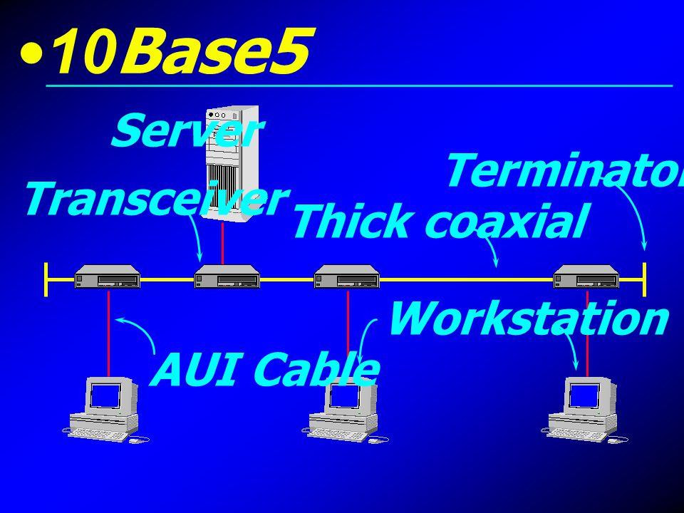 10Base2 เรียกอีกชื่อหนึ่งว่า Thin Ethernet ใช้สาย Coaxial ชนิดบาง ซึ่งมีความ อ่อนตัวกว่าแบบหนา ทำให้สามารถดัดโค้งไปตามมุม ต่าง ๆ ได้ดี สามารถ เชื่อมต่อเครือข่ายได้ประมาณ 185-200 เมตร ต่อ 1 Segment และเชื่อมต่อ คอมพิวเตอร์ได้ประมาณ 30 เครื่อง ต่อ Segment