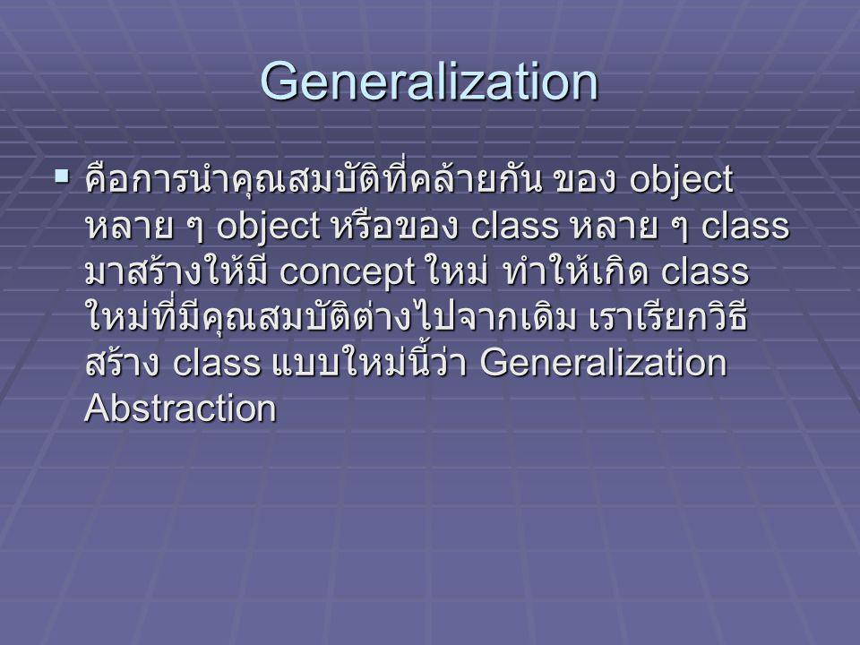 Generalization  คือการนำคุณสมบัติที่คล้ายกัน ของ object หลาย ๆ object หรือของ class หลาย ๆ class มาสร้างให้มี concept ใหม่ ทำให้เกิด class ใหม่ที่มีค
