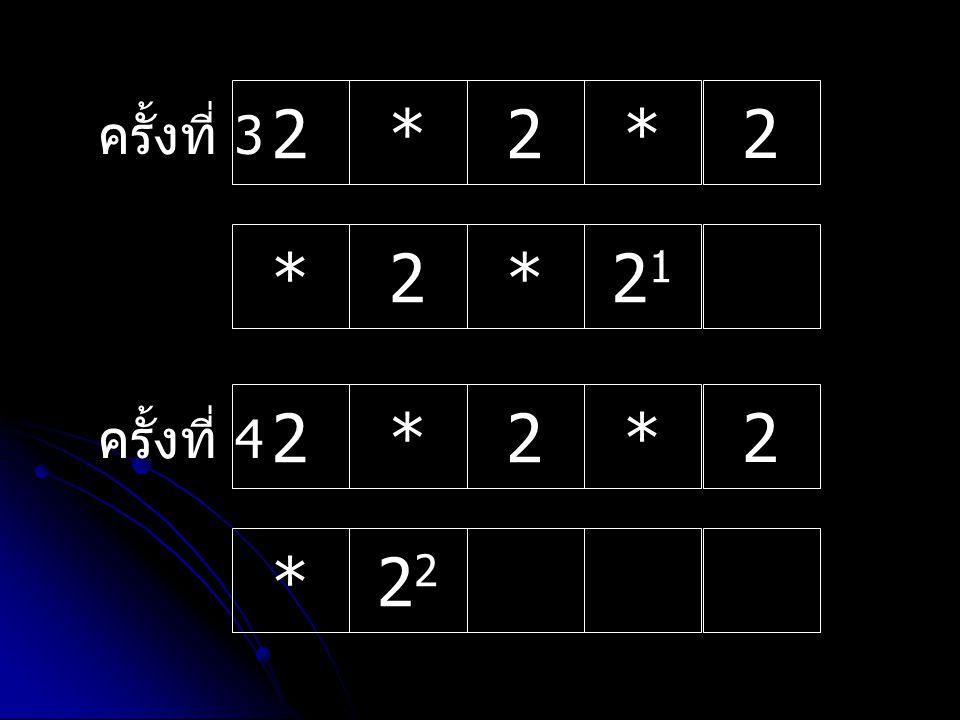 ครั้งที่ 4 2*2* 2 *2 ครั้งที่ 3 2*2* 2 *2*2121