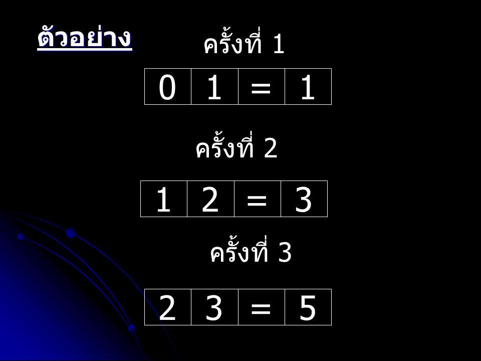 01=112=3 ครั้งที่ 1 ครั้งที่ 2 23=5 ครั้งที่ 3 ตัวอย่าง