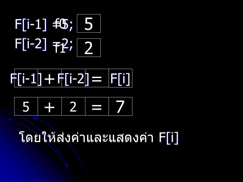 F[i-1] =5; F[i-2] =2; 5 f0 2 f1 F[i-1] + F[i-2] = F[i]F[i]F[i]F[i] 5 + 2 = 7 F[i] โดยให้ส่งค่าและแสดงค่า F[i]