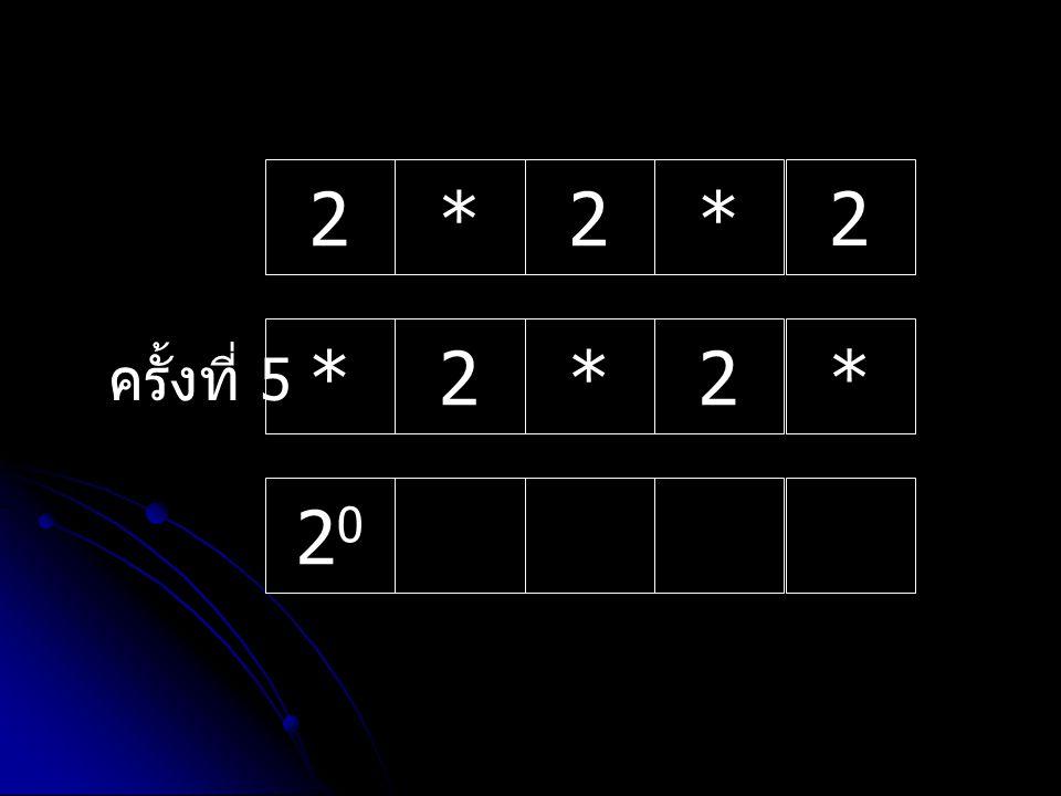 รับค่า n = 5; เข้ามาเก็บไว้ใน หน่วยความจำ Memory 5 หน่วยความจำ Memory กำหนดค่าให้ตัวแปร x=2; และ n=5;