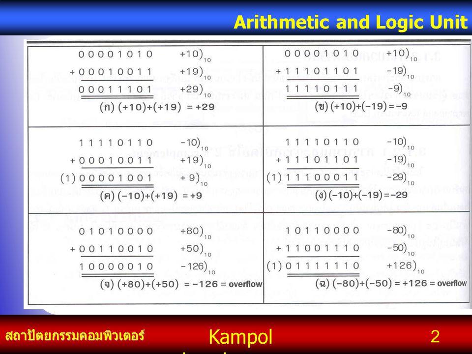 Kampol chanchoengpan it สถาปัตยกรรมคอมพิวเตอร์ Arithmetic and Logic Unit 2