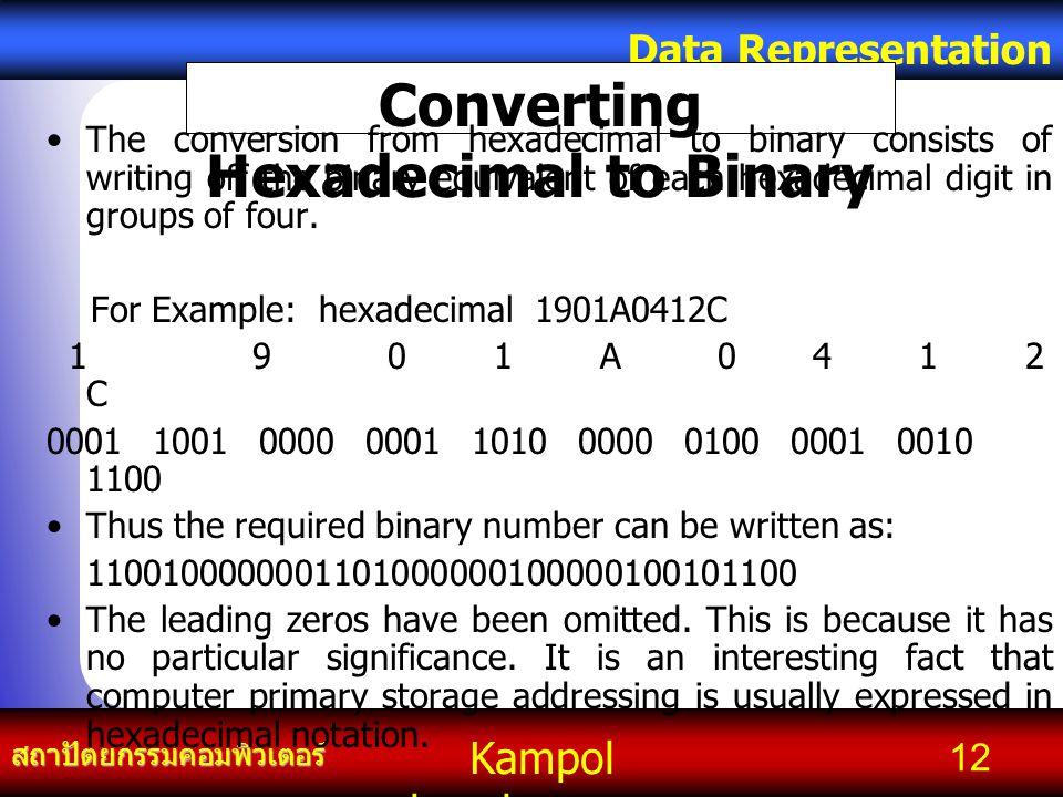 Kampol chanchoengpan it สถาปัตยกรรมคอมพิวเตอร์ Data Representation 12 Converting Hexadecimal to Binary The conversion from hexadecimal to binary consi