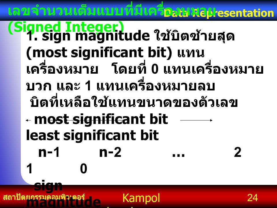 Kampol chanchoengpan it สถาปัตยกรรมคอมพิวเตอร์ Data Representation 24 เลขจำนวนเต็มแบบที่มีเครื่องหมาย (Signed Integer) 1. sign magnitude ใช้บิตซ้ายสุด
