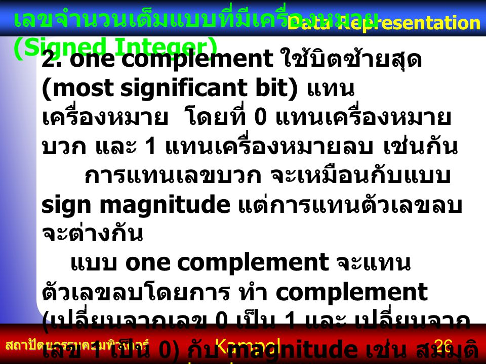 Kampol chanchoengpan it สถาปัตยกรรมคอมพิวเตอร์ Data Representation 26 เลขจำนวนเต็มแบบที่มีเครื่องหมาย (Signed Integer) 2. one complement ใช้บิตซ้ายสุด