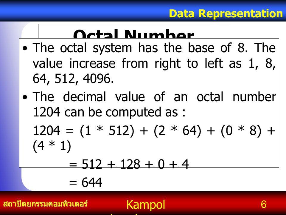 Kampol chanchoengpan it สถาปัตยกรรมคอมพิวเตอร์ Data Representation 27 เลขจำนวนเต็มแบบที่มีเครื่องหมาย (Signed Integer) ถ้าใช้จำนวน n บิต จะแทนเลข จำนวนเต็มแบบมีเครื่องหมาย ได้ตั้งแต่ – (2 n -1 – 1) ถึง +(2 n -1- 1) เช่น n = 16 จะแทนเลขจำนวน เต็มมีเครื่องหมายได้ตั้งแต่ –32767 ถึง +32767 เป็นต้น โดยที่ 0 แทนได้ทั้ง +0 และ –0