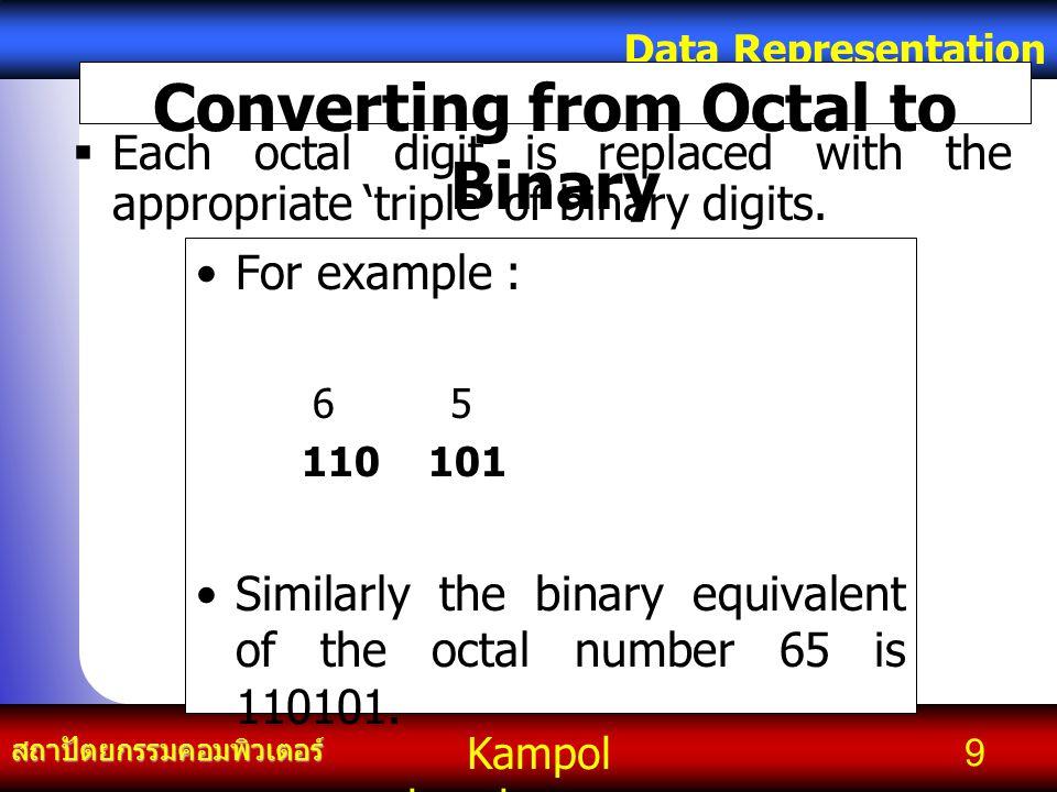 Kampol chanchoengpan it สถาปัตยกรรมคอมพิวเตอร์ Data Representation 9 Converting from Octal to Binary For example : 6 5 110 101 Similarly the binary eq