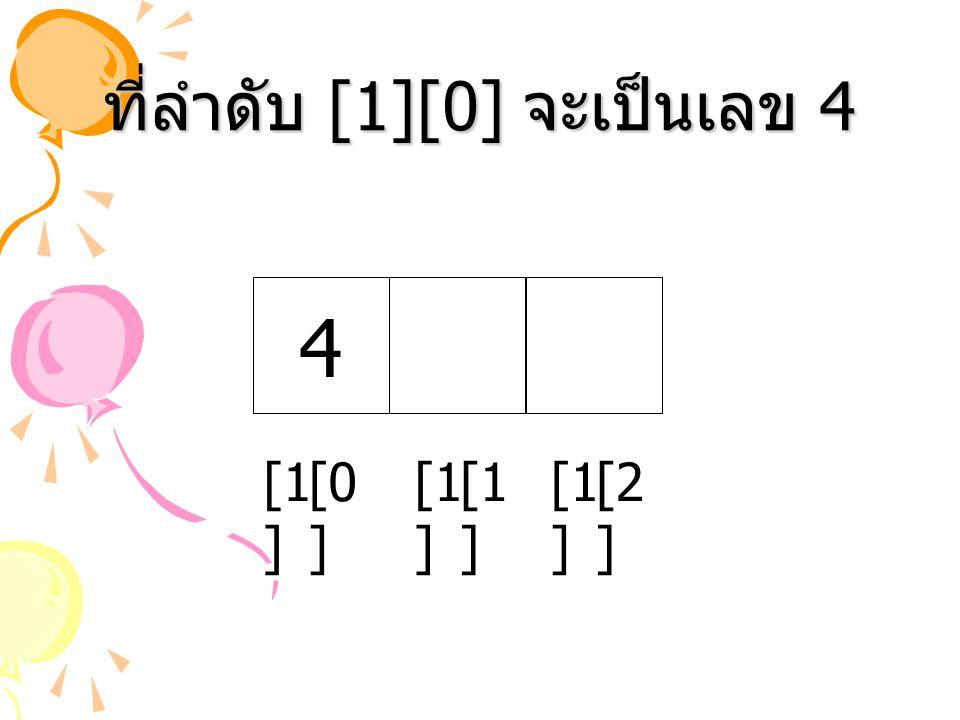 ที่ลำดับ [1][0] จะเป็นเลข 4 4 [1 ] [2 ] [0 ] [1 ]