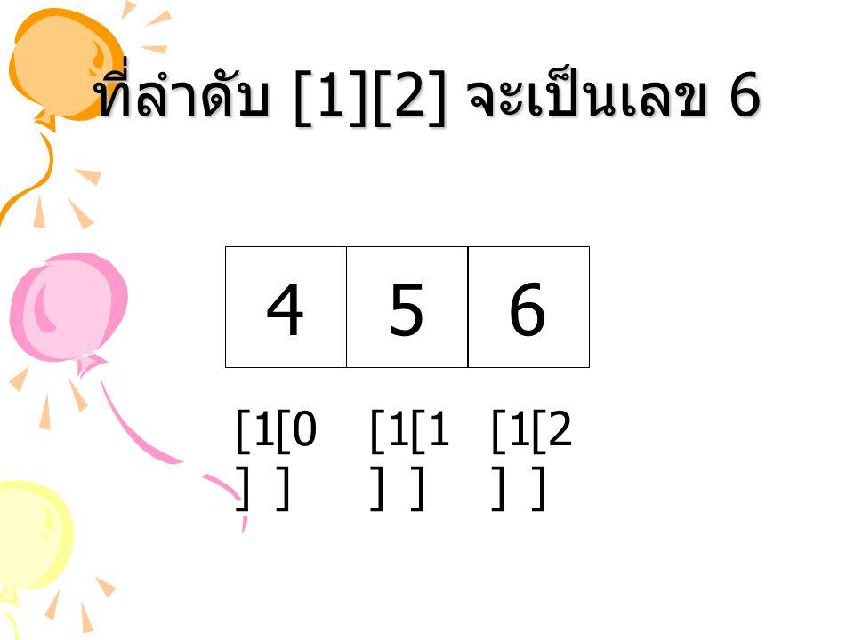 ที่ลำดับ [1][2] จะเป็นเลข 6 456 [1 ] [2 ] [0 ] [1 ]