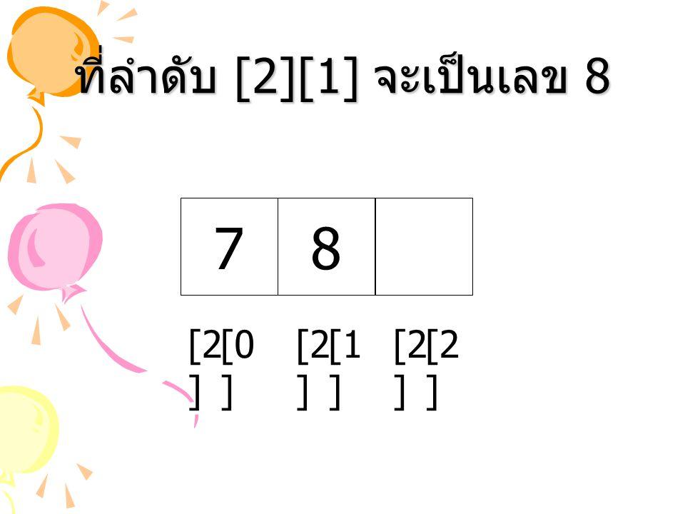 ที่ลำดับ [2][1] จะเป็นเลข 8 78 [2 ] [1 ] [2 ] [0 ] [2 ]