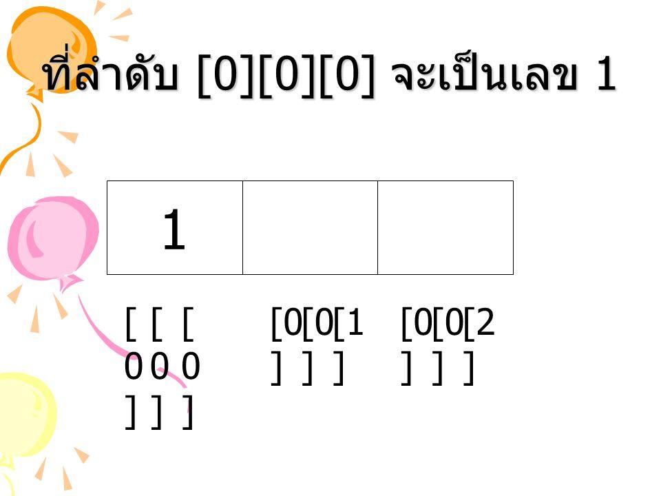 ที่ลำดับ [0][0][0] จะเป็นเลข 1 [1 ] [2 ] [0 ] 1 [0][0] [0][0] [0][0]