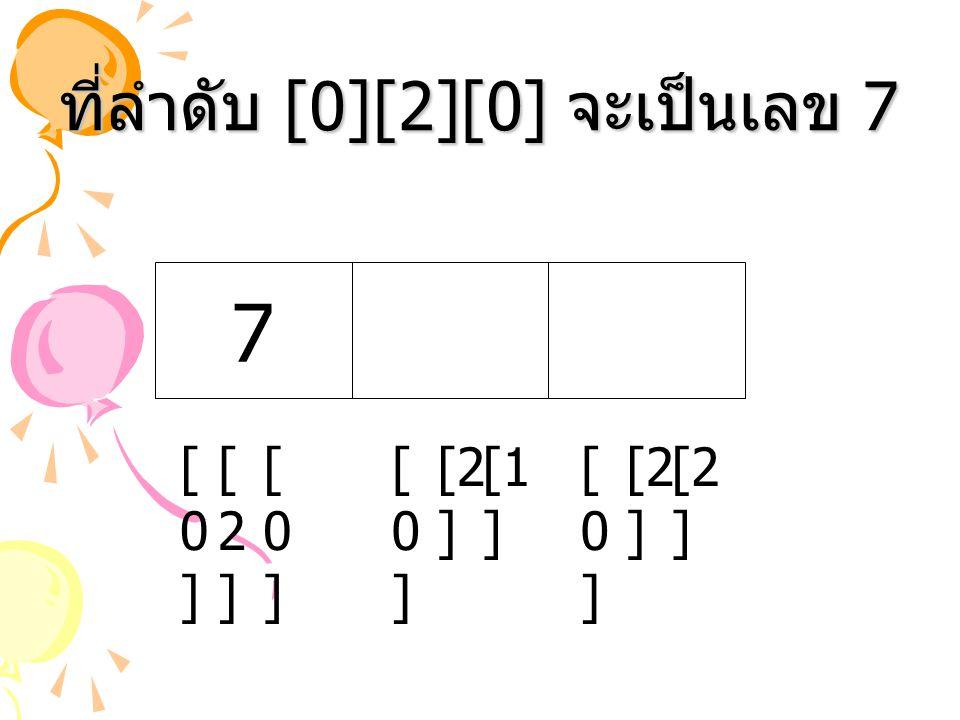 ที่ลำดับ [0][2][0] จะเป็นเลข 7 [1 ] [2 ] [0][0] [0][0] 7 [2][2] [0][0] [0][0]