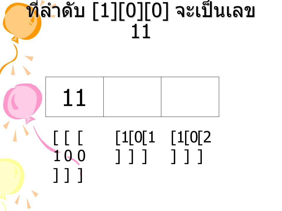 ที่ลำดับ [1][0][0] จะเป็นเลข 11 [1 ] [2 ] [0 ] [1 ] 11 [0][0] [1][1] [0][0]