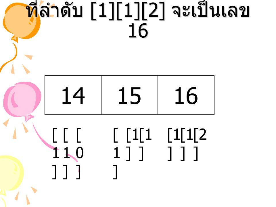 ที่ลำดับ [1][1][2] จะเป็นเลข 16 [1 ] [2 ] [1 ] [1][1] 14 [1][1] 1516 [1][1] [0][0]