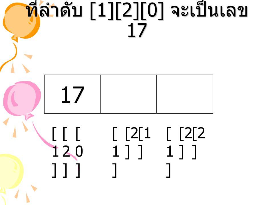 ที่ลำดับ [1][2][0] จะเป็นเลข 17 [1 ] [2 ] [1][1] [1][1] 17 [2][2] [1][1] [0][0]