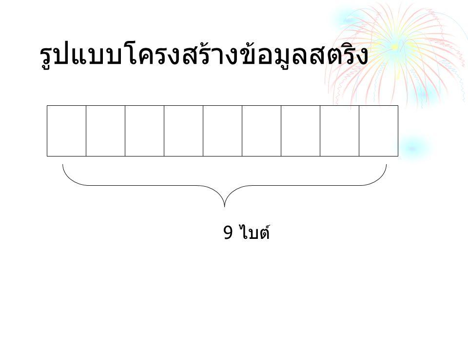 ประกาศตัวแปรเป็น char name [9]; สามารถรับตัวแปรได้ 8 ตัว A