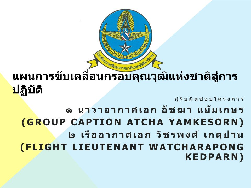 แผนการขับเคลื่อนกรอบคุณวุฒิแห่งชาติสู่การ ปฏิบัติ ผู้รับผิดชอบโครงการ ๑ นาวาอากาศเอก อัชฌา แย้มเกษร (GROUP CAPTION ATCHA YAMKESORN) ๒ เรืออากาศเอก วัชรพงศ์ เกตุปาน (FLIGHT LIEUTENANT WATCHARAPONG KEDPARN)