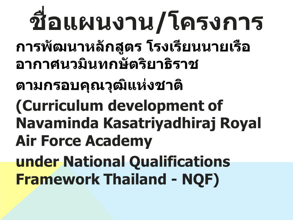 ชื่อแผนงาน / โครงการ การพัฒนาหลักสูตร โรงเรียนนายเรือ อากาศนวมินทกษัตริยาธิราช ตามกรอบคุณวุฒิแห่งชาติ (Curriculum development of Navaminda Kasatriyadhiraj Royal Air Force Academy under National Qualifications Framework Thailand - NQF)