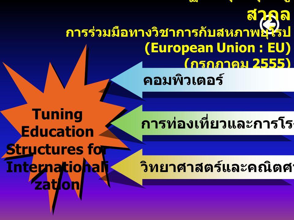 การนำกรอบมาตรฐานคุณวุฒิสู่ สากล การร่วมมือทางวิชาการกับสหภาพยุโรป (European Union : EU) ( กรกฎาคม 2555) Tuning Education Structures for Internationali