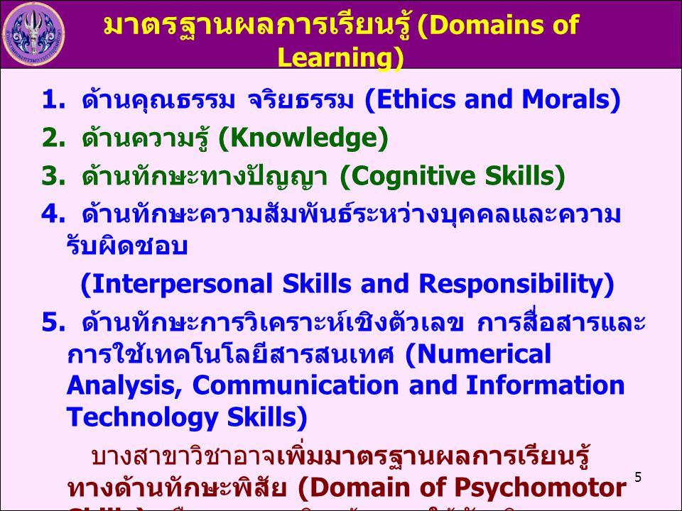 5 มาตรฐานผลการเรียนรู้ (Domains of Learning) 1. ด้านคุณธรรม จริยธรรม (Ethics and Morals) 2. ด้านความรู้ (Knowledge) 3. ด้านทักษะทางปัญญา (Cognitive Sk