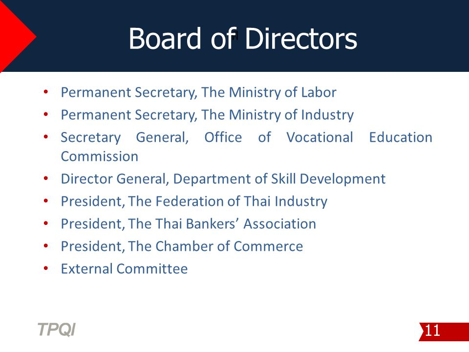 ฟื Board of Directors 11 Permanent Secretary, The Ministry of Labor Permanent Secretary, The Ministry of Industry Secretary General, Office of Vocatio