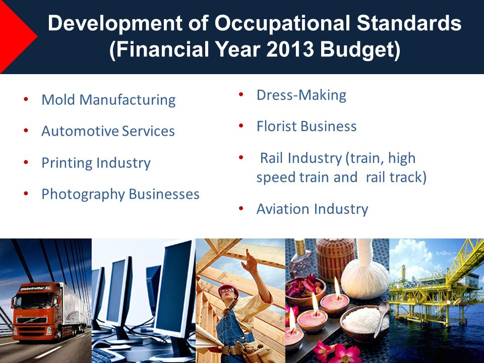 16 Mold Manufacturing Automotive Services Printing Industry Photography Businesses Development of Occupational Standards (Financial Year 2013 Budget)