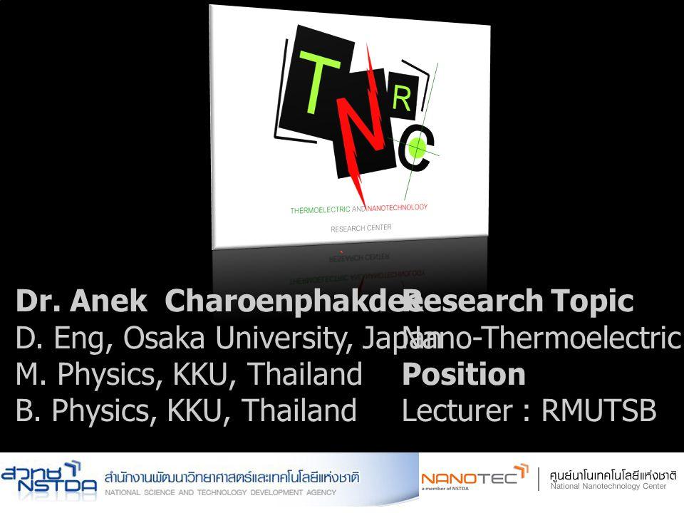 ` Dr. Anek Charoenphakdee D. Eng, Osaka University, Japan M. Physics, KKU, Thailand B. Physics, KKU, Thailand Research Topic Nano-Thermoelectric Mater