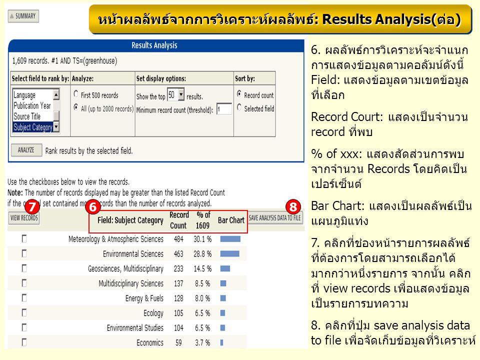 6. ผลลัพธ์การวิเคราะห์จะจำแนก การแสดงข้อมูลตามคอลัมน์ดังนี้ Field: แสดงข้อมูลตามเขตข้อมูล ที่เลือก Record Court: แสดงเป็นจำนวน record ที่พบ % of xxx: